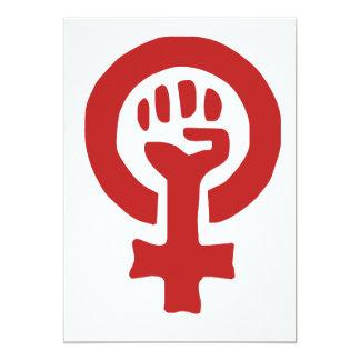 Red Feminism Symbol 5x7 Paper Invitation Card