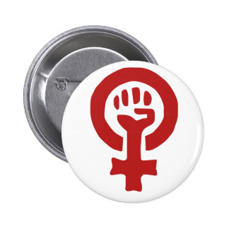Red Feminism Symbol Pinback Buttons