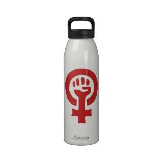 Red Feminism Symbol Reusable Water Bottles