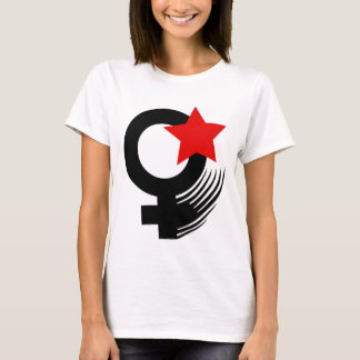 Red Feminist Action Style on White Baby Doll T-Shirt