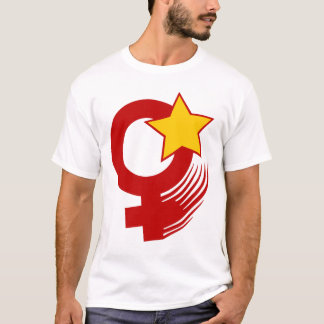 Red Feminist Action Style on White T-Shirt