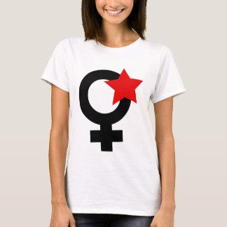 Red Feminist on White Baby Doll T-Shirt