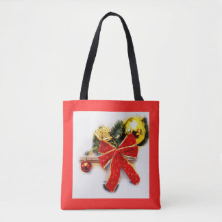 Red festive bow tote bag
