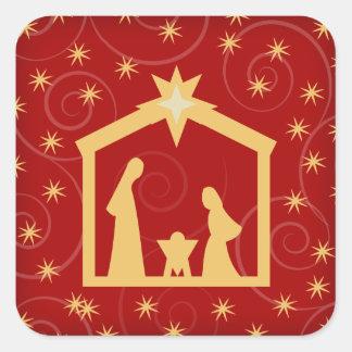 Red Festive Christmas Nativity Scene Square Sticker