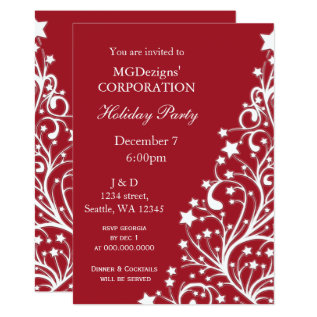 Red Festive Corporate Holiday Party Invites at Zazzle