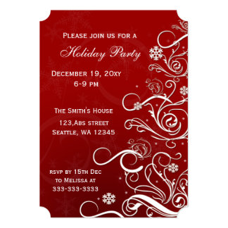 Red festive Holiday Party Invitations