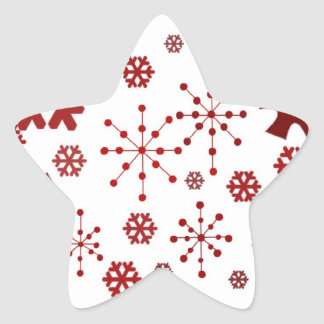 Red Festive Snowflakes Sticker