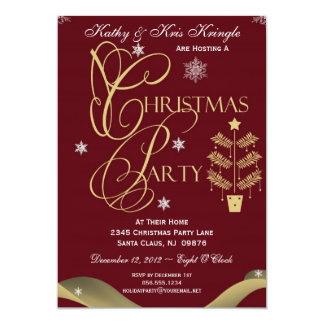 Red Festive Tree Christmas Party Invitation Card