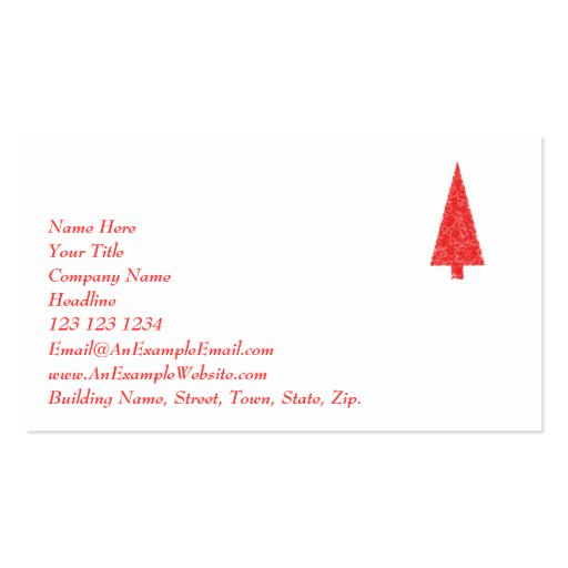 Red Festive Tree. Red and White. Christmas. Business Card