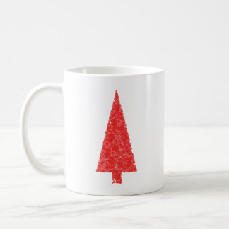 Red Festive Tree. Red and White. Christmas. Coffee Mug