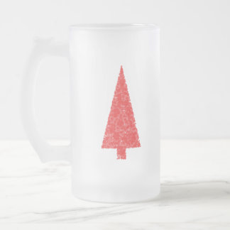 Red Festive Tree. Red and White. Christmas. Mug