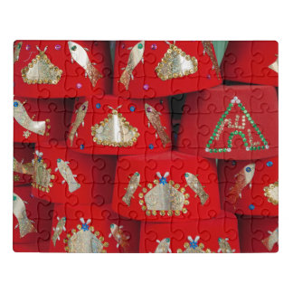 Red Fez Hats At Market Jigsaw Puzzle