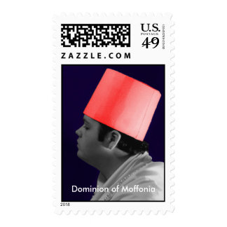 Red Fez, Self-Portrait by Michael Moffa Postage Stamp