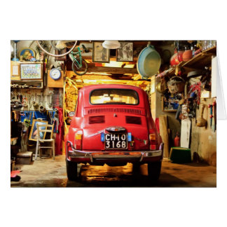 Red Fiat 500 Cinquecento in Italy Card
