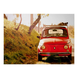 Red Fiat 500, Cinquecento, in Italy Poster