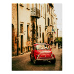 Red Fiat 500 Poster, vintage cinquecento, Italy Poster