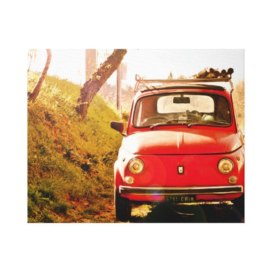 Red Fiat 500, vintage cinquecento in Italy Canvas Print