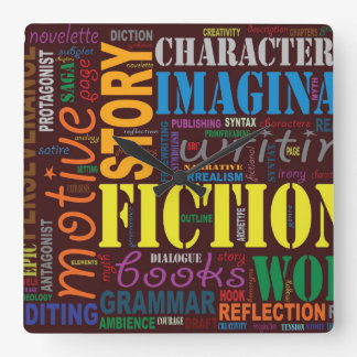 Red Fiction Writer's Word Art Clock