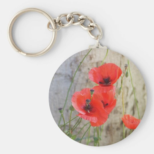 Red Field Corn Poppies Keychain