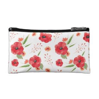 Red Field Flowers Pattern Makeup Bag