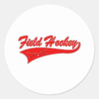 Red Field Hockey Classic Round Sticker