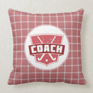 Red Field Hockey Coach Throw Pillow