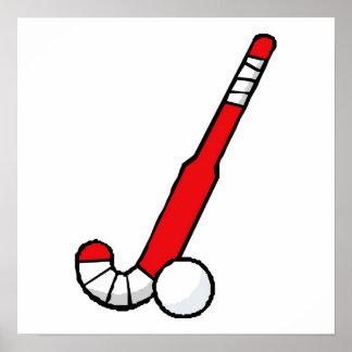 Red Field Hockey Stick Poster
