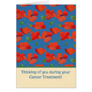 Red Field Poppies Cancer Treatment Support Card