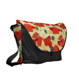 Red Field Poppies, Cornfield Yellow Messenger Bag