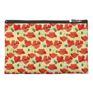 Red Field Poppies, Cornfield Yellow Zip-Topped Bag Travel Accessory Bag