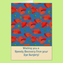 Red Field Poppies Get Well Eye Surgery Card