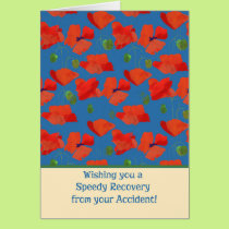 Red Field Poppies Get Well from Accident Card