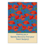 Red Field Poppies Get Well Heart Surgery Card