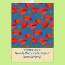 Red Field Poppies Get Well Knee Surgery Card