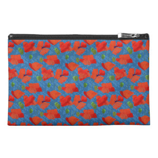 Red Field Poppies on Blue Travel Accessories Bag
