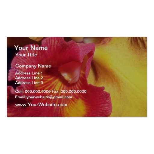 Red Fiery Orchid flowers Double-Sided Standard Business Cards (Pack Of 100)