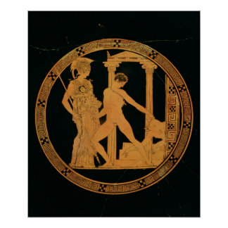Red-figure cup depicting Athena, Theseus Poster
