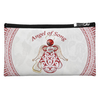 Red Filigree & Gold Christmas Angel of Song Cosmetic Bag