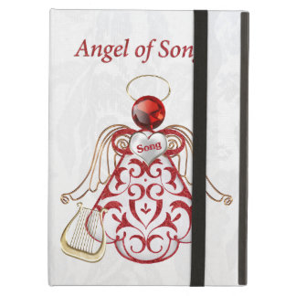 Red Filigree & Gold Christmas Angel of Song Cover For iPad Air