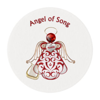 Red Filigree & Gold Christmas Angel of Song Edible Frosting Rounds