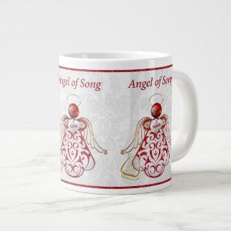 Red Filigree & Gold Christmas Angel of Song Giant Coffee Mug