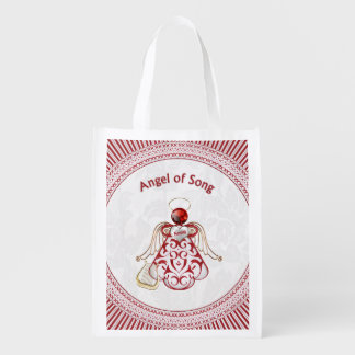 Red Filigree & Gold Christmas Angel of Song Grocery Bag