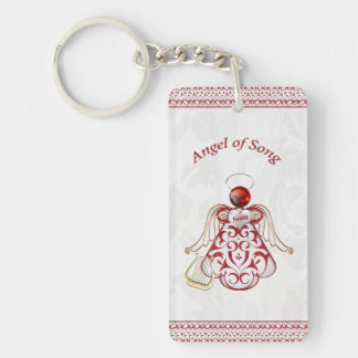 Red Filigree & Gold Christmas Angel of Song Single-Sided Rectangular Acrylic Keychain