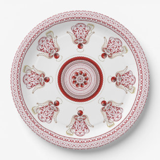 Red Filigree & Gold Christmas Angel of Song Paper Plate