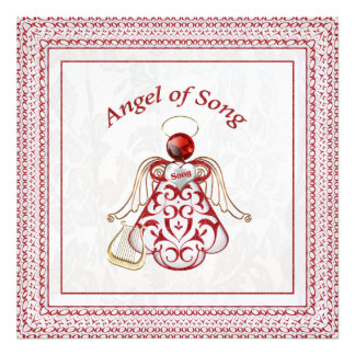 Red Filigree & Gold Christmas Angel of Song Art Photo