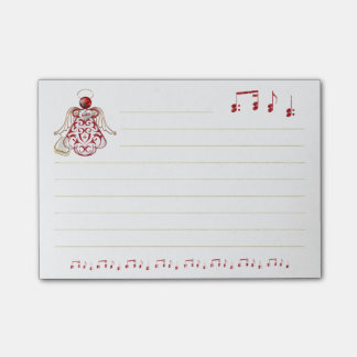 Red Filigree & Gold Christmas Angel of Song Post-it® Notes