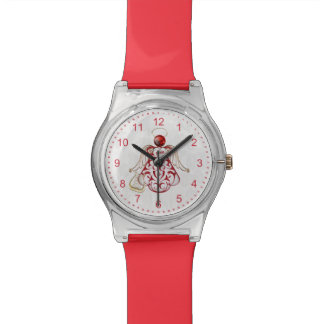 Red Filigree & Gold Christmas Angel of Song Wristwatch