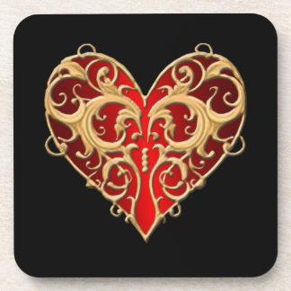 Red Filigree Heart Coasters