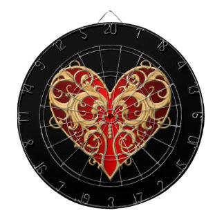 Red Filigree Heart Dart Board