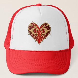 Red Filigree Heart Hat